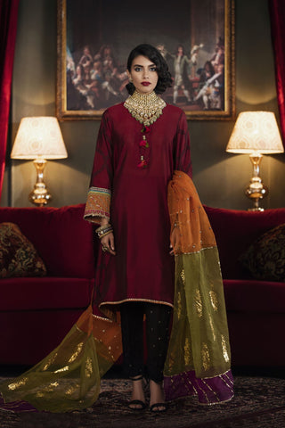 Ethnic maroon shirt n dupatta formal medium