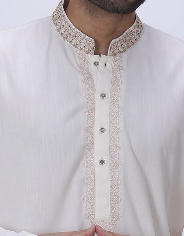 J. Men's off white small Salwar Kameez