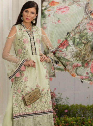 Saadia asad lawn three piece suit formal XL