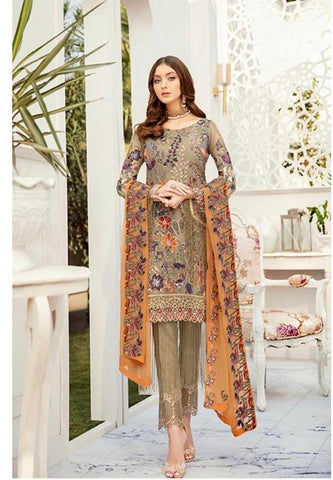 Ramsha rust and green suit large chiffon