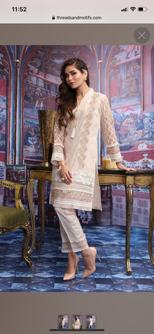 Threads n motifs small organza formal shirt n dupatta