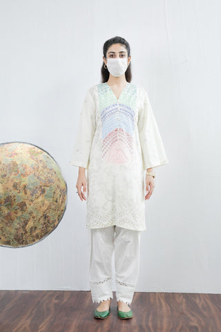 Ethnic block print off white shirt Lawn large