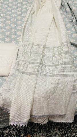 White chiffon and cotton dupatta Bella Khan