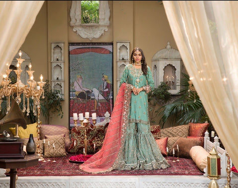Fancy formal 3 piece gharara suit size large