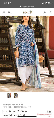 Zeen blue n white small size suit 2 piece