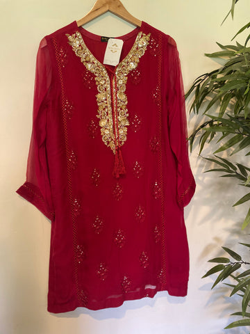 Agha noor red chiffon shirt size large 3 piece