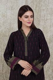 Chinyere s lawn jacquard shirt black n purple
