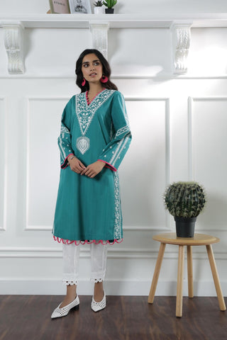 Ethnic green medium shirt lawn blocks print