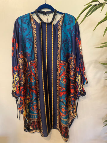 Gul ahmed silk kaftan blue large