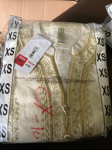 Ethnic xs off white n gold jacquard shirt
