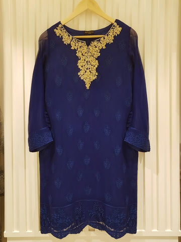 Agha noor blue small chiffon fancy shirt