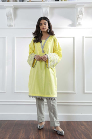 Ethnic large yellow and gray 2 piece suit cotton