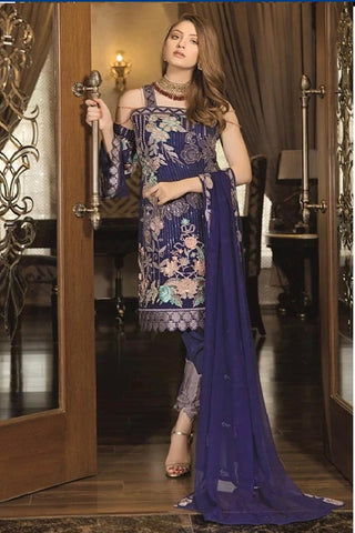 Ramsha blue chiffon suit xl
