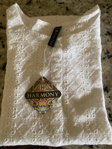 Harmony white chikan shirt small