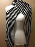 100% BABY ALPACA SCARF/DOUBLE-KNIT DIAMOND BLACK/WHITE! WONDERFUL GIFT!