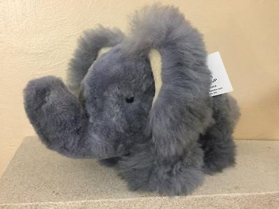 Absolutely Adorable Alpaca Fleece-Covered Stuffed Elephant! GRAY