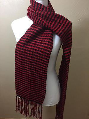 100% BABY ALPACA SCARF/DOUBLE-KNIT DIAMOND RED/BLACK! WONDERFUL GIFT!