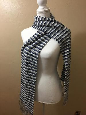 100% BABY ALPACA SCARF/DOUBLE-KNIT DIAMOND BLUE/GRAY! WONDERFUL GIFT!
