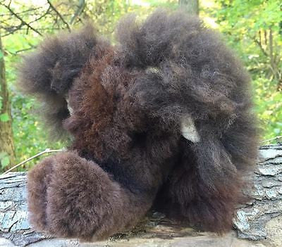 Absolutely Adorable Alpaca Fleece-Covered Stuffed Elephant! Dark Brown