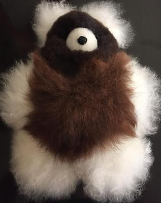 Medium Teddy Bear in Brown and White! 100% BABY ALPACA!