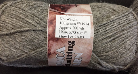 Alpaca Hand knitting Yarn~~~DK Weight  Approx 200 yds GREY~~~ MADE IN THE USA!!