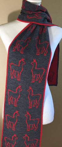 REVERSIBLE ALPACA PRINT SCARF DESIGNED BY DEBRANN WEISS!  RED/GRAY