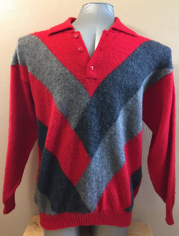 Fashion Forum Men's Sweater Scarlet/Gray/Black      SIZE LARGE ONLY!