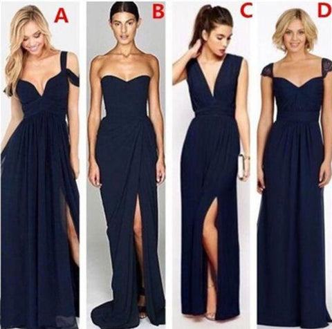 AHB005 Navy Blue Floorlength Chiffon Mismatched Bridesmaid Dresses