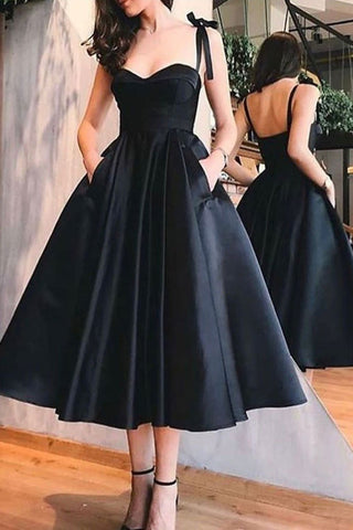 Vintage Sweetheart Satin Simple Tea-length Bridesmaid Dress AHB017