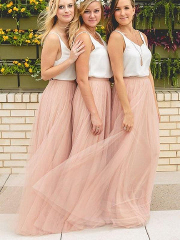 Two-piece V-neck Chiffon&Tulle Simple Bridesmaid Dress AHB020