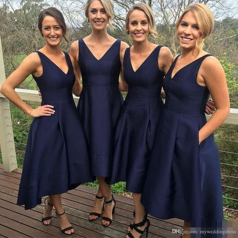 Navy Blue V-neck Satin High Low Skirt Short Bridesmaid Dress AHB023