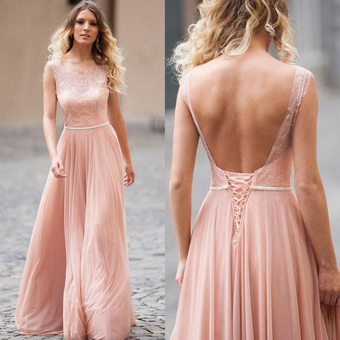 Blush Pink Lace &Tulle Open Back Long Bridesmaid Dress AHB024