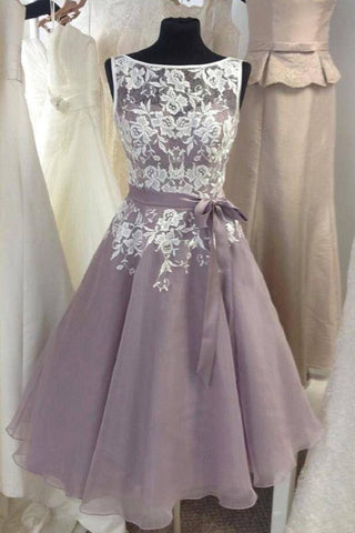 Dusty Purple Lace &Tulle  Short Bridesmaid Dress AHB027