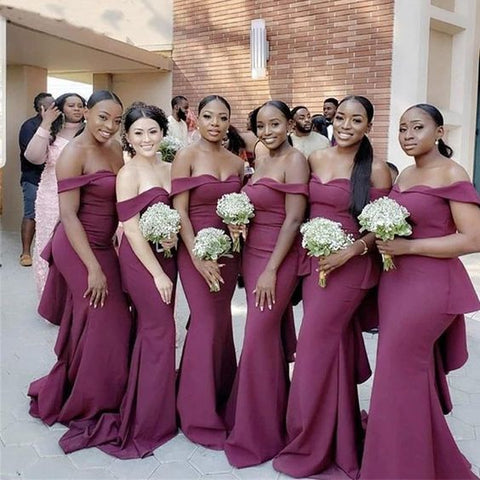 Plum Off Shoulder Mermaid Long Bridesmaid Dress AHB028