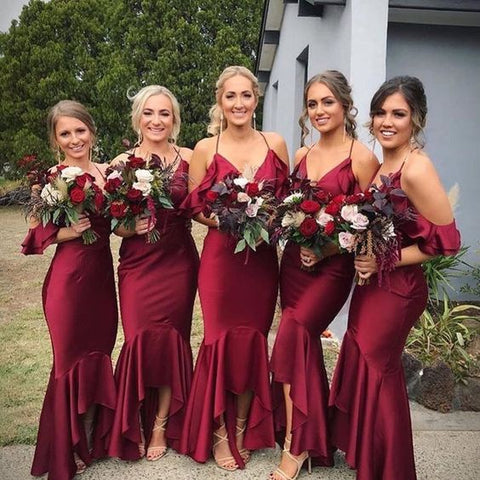 Burgundy Cap Sleeve Halter Mermaid Long Bridesmaid Dress AHB029