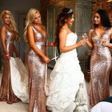 Gold Sequin Lace V-neck Mermaid Long Bridesmaid Dress AHB035