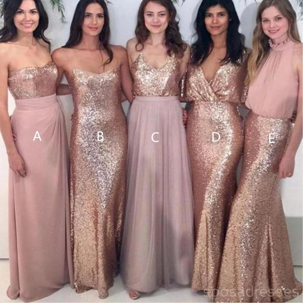 Simple Mix Match Rose Gold Sequin Lace Long Bridesmaid Dress AHB038