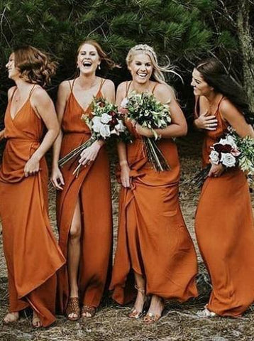 Simple V-neck High Slit Long Bridesmaid Dress AHB040