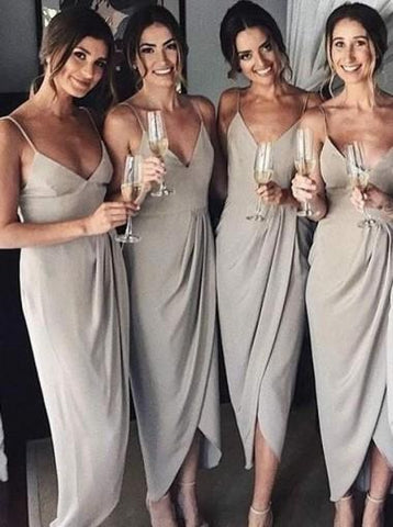 Gray Simple Spagetti Strap Slit Chiffon Long Bridesmaid Dress AHB044