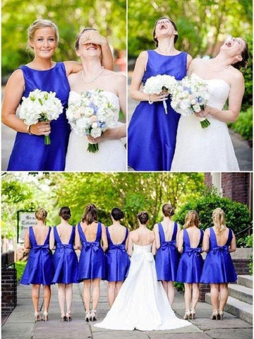 Scoop Neckline Royal Blue Satin Short Bridesmaid Dress AHB007