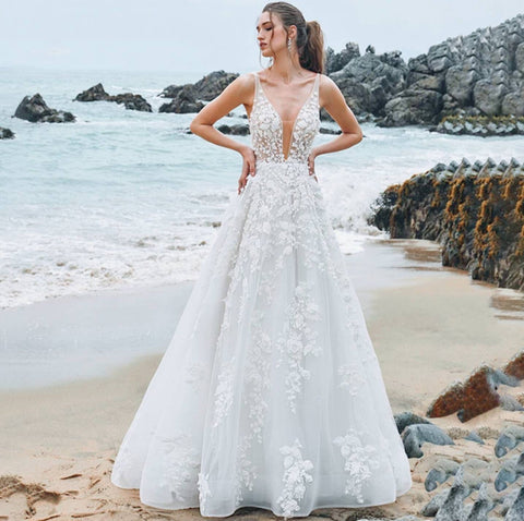 Floral Lace Illusion A-line Plunging Wedding Dress DBW8015
