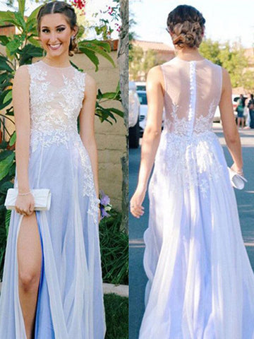 Charming A-line Lace Applique Bodice Chiffon Sky Blue Prom Dress With High Split MPD3459