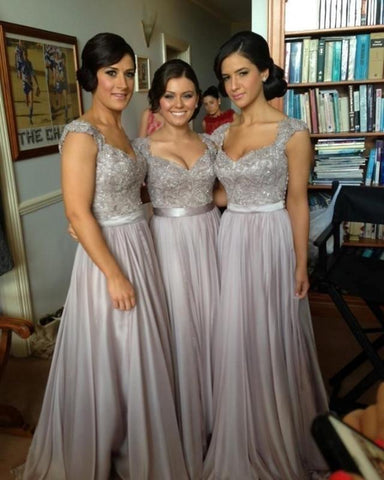 AHB004 Cap Sleeves Chiffon Long Bridesmaid Dresses,Gray Bridesmaid Dresses