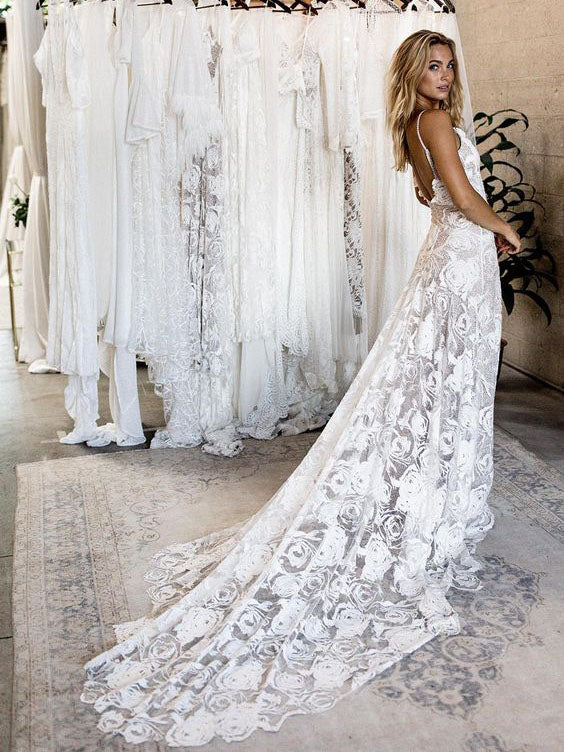 d54f6ef0f8371 Charming Spagetti Strap V-neck Sweep Train Tight Lace Beach Wedding Dresses  Boho BWM1003