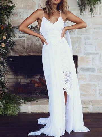 Charming Spagetti Strap V-neck Lace&Chiffon Beach Wedding Dresses Boho BWM1004