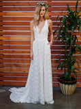 Charming A-line V-neck Sweep Train Lace Beach Wedding Dresses Boho BWM1005
