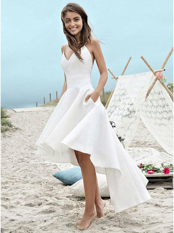 Charming A-line Spagetti Strap V-neck High-Low Beach Wedding Dresses Boho BWM1007