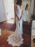 Charming Sheath Spaghetti Strap Sweep Train Backless Slit Lace Beach Wedding Dresses Boho BWM1012