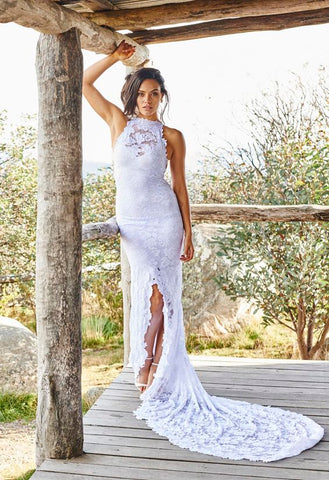 Charming Sheath Halter Strap Sweep Train Backless Slit Lace Beach Wedding Dresses Boho BWM1013