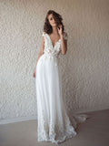Charming Princess A-line V-neck Sweep Train Lace Applique Beach Wedding Dresses Boho BWM1015